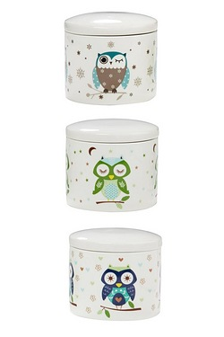 Set Of 3 New Bone China Owl Canisters