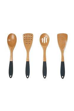Set Of 4 Beechwood & Silicone Utensils