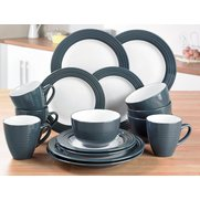 16-Piece Stoneware Dark Grey Ribbed...
