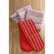 Butchers Stripe Oven Glove & Tea To...
