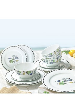 12-Piece New Bone China Fishes Dinn...