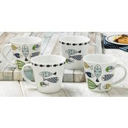 Set Of 4 New Bone China Fishes Mugs