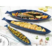 Set Of 3 Indigo Stoneware Fish Shap...