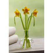 Glass Daffodils Flowers In Vase