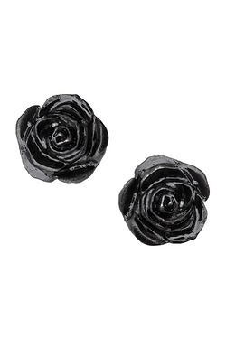 The Romance of Black Rose Stud Earr...