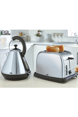 EGL Pyramid Kettle and 2-Slice Toaster Set - Brushed Stainless Steel