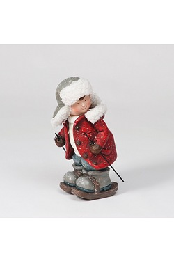 Ceramic Boy On Skis Figurine