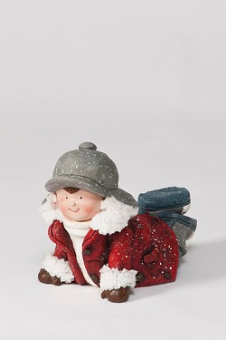Ceramic Boy On Tummy Figurine