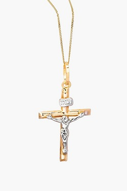 "9ct Yellow & White Gold Crucifix Pendant on 16"" Curb Chain."