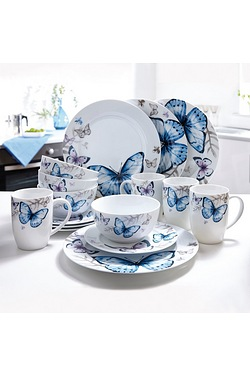 16 Piece New Bone China Butterfly D...