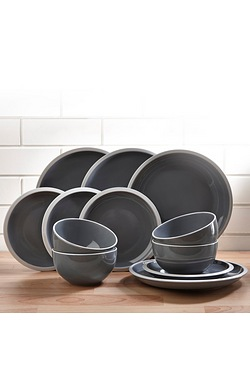 12 Piece Grey Stoneware Dinner Set