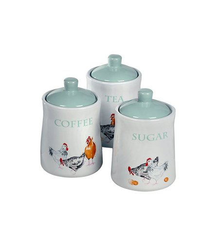 farmhouse kitchen tea coffee and sugar canisters webb ivory