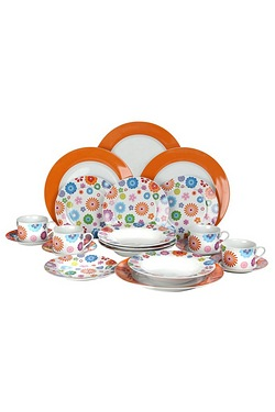 20 Piece Orange Flower Dinner Set