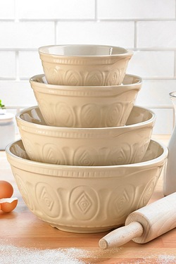 Set Of 4 Cream Ceramic Mixing Bowls