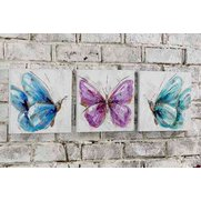 Hand Painted Butterfly Canvas Trio