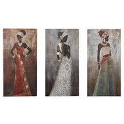 Hand Painted Set Of 3 African Ladie...