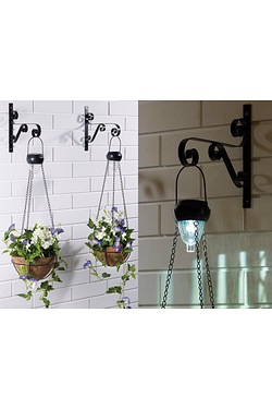 Set of 2 Solar Hanging Basket