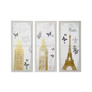 New York, London, Paris Foil Canvas...