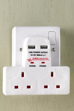 2 Way Wall Adaptor With USB