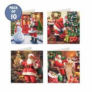 Pack Of 10 Jolly Santa Cards