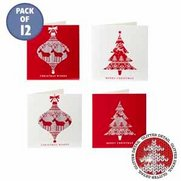 Pack Of 12 Glitter Nordic Bauble Cards