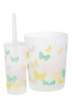 Pastel Butterflies Toilet Brush & W...