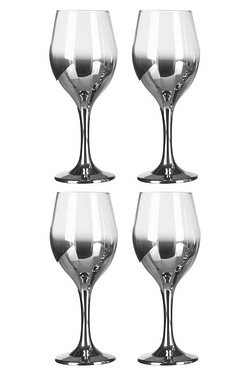 4 Silver Wine Glasses