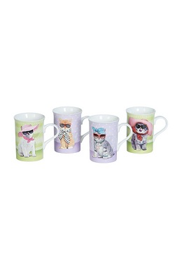 Set Of 4 China Cat Mugs