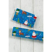 Blue Santa And Elf Roll Wrap