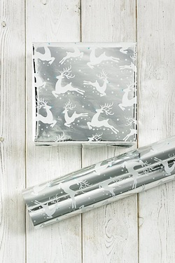 Silver And White Reindeer Printed F...