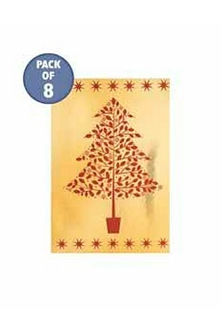 8 Red And Gold Tree Foil Tags