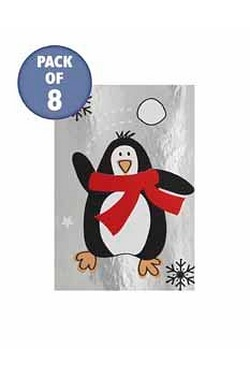 8 Santa And Friends Foil Tags