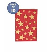 10 Red & Gold Stars Gift Tags