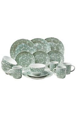 16-Piece Pad Print Teal Dinner Set