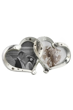 Silver Plated Double Heart Frame Wi...