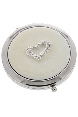 Silver Plated and Crystal Heart Compact Mirror