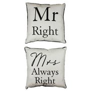 Set of Two Cushions - Mr Right & Mr...