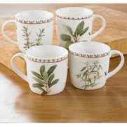 Set Of 4 New Bone China Herb Mugs