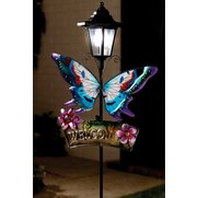 Solar Butterfly Welcome Sign Garden...