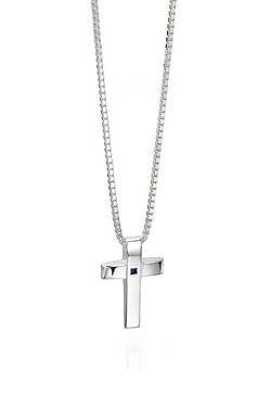 Fred Bennett Silver Cross Pendant With Blue Sapphire