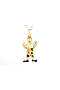 9ct Gold Childs Moveable Clown Pendant