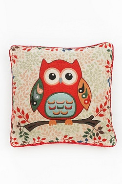 Owl Woven Tapestry Cushion Cover