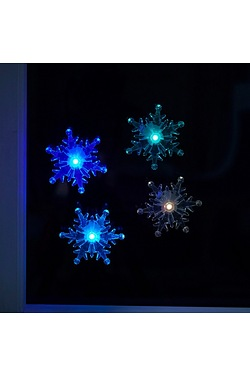 4 Colour Changing Window Snowflakes