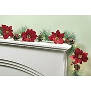 6ft Red Poinsettia LED Garland