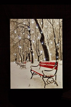 LED Snowy Park Bench LED Canvas