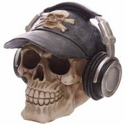 Skull Money Box With Hat & Headphones
