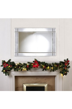 Poinsettia and Holly LED Light-Up Garland