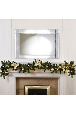 Gold Poinsettia LED Light-Up Garland