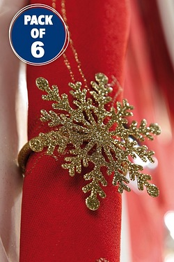 Set Of 6 Snowflake Napkin Rings