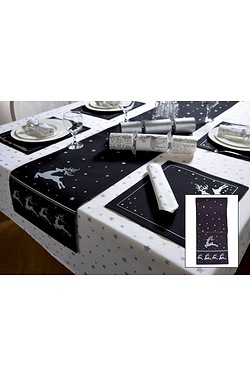 Black & Silver Reindeer Table Runner